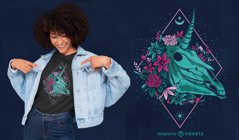 Totenkopf Einhorn Kopf mit Blumen T-Shirt Design