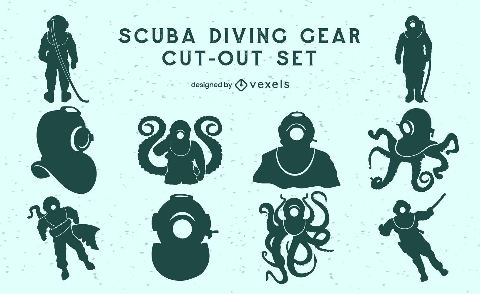 Vintage scuba divers cut out set