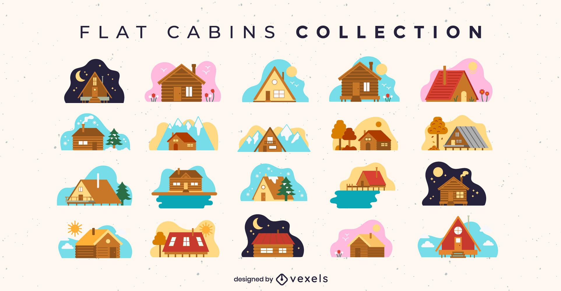 Cabaña de madera casas colección plana.