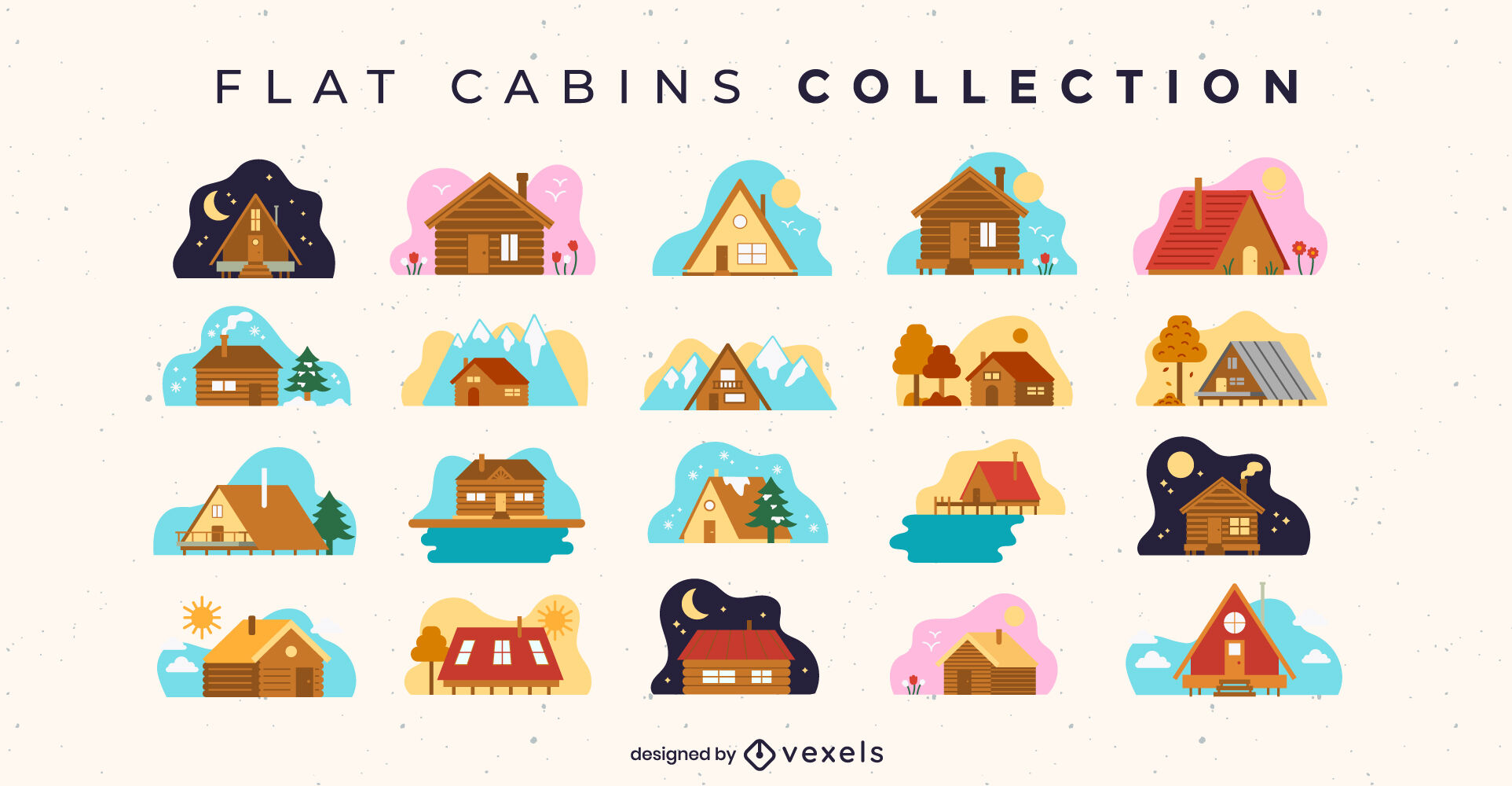 Wooden cabin houses flat collection