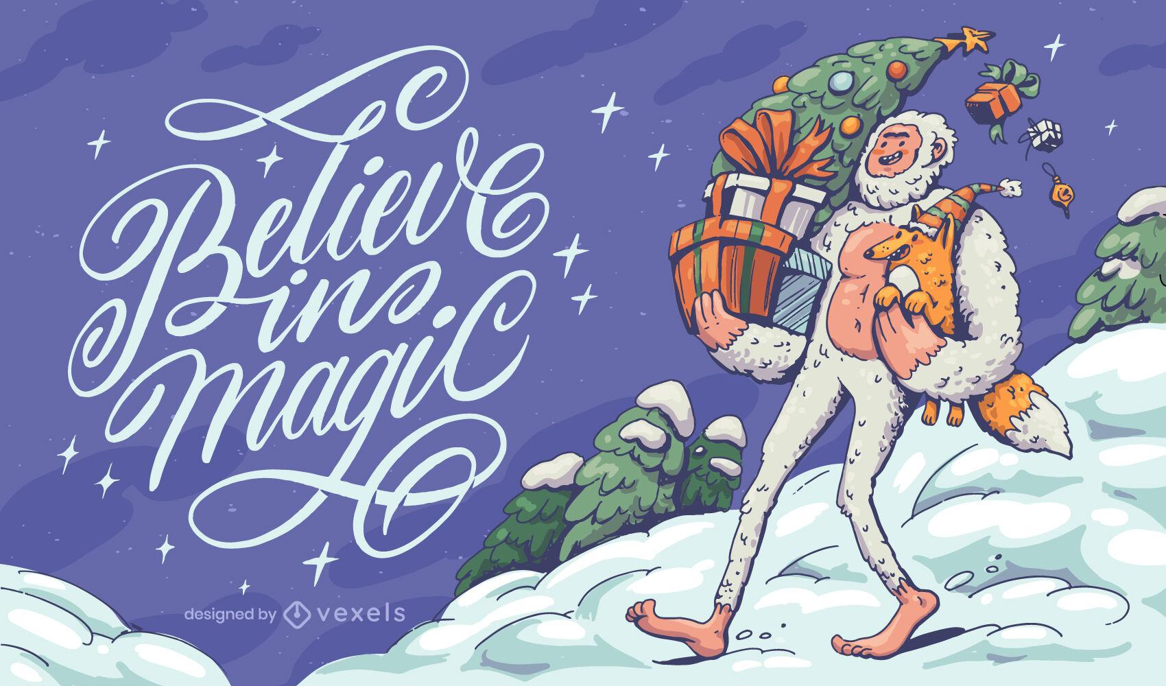 Christmas yeti monster lettering illustration