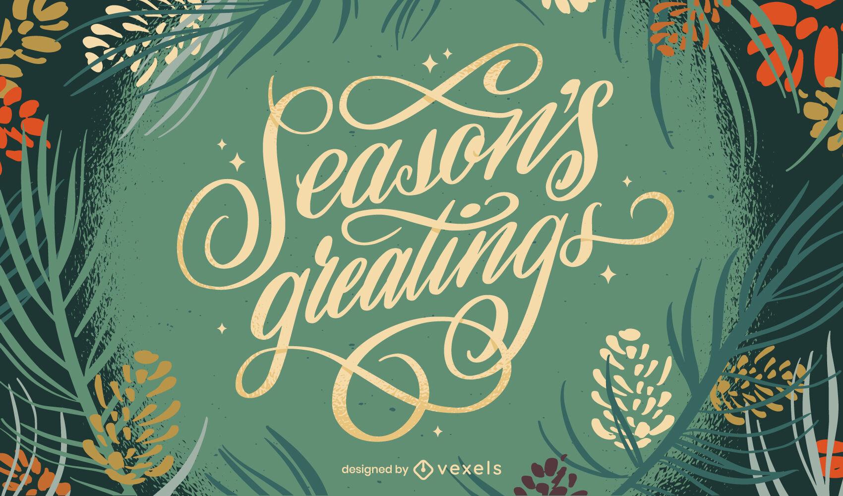 Desenho de letras da natureza nas férias de Natal
