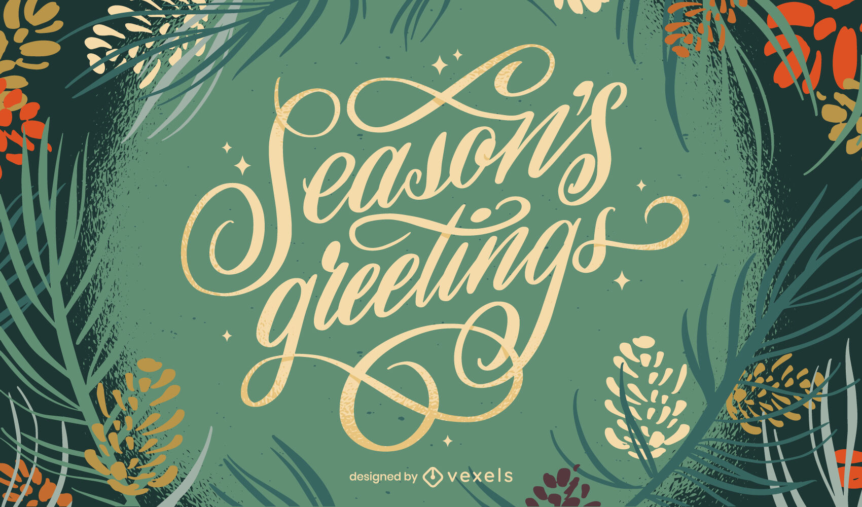 Christmas holiday nature lettering design