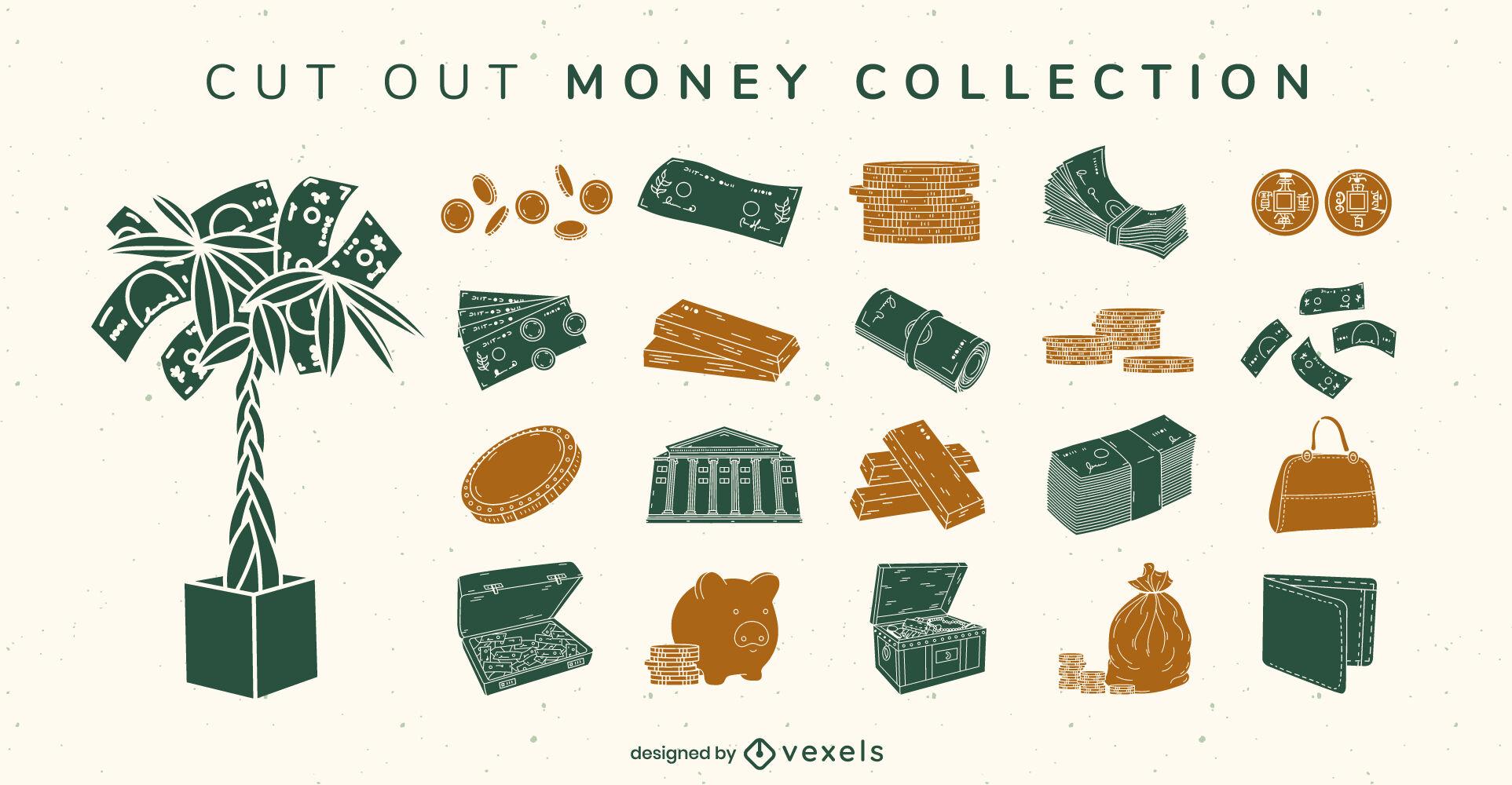 Conjunto de dinero de elementos recortados
