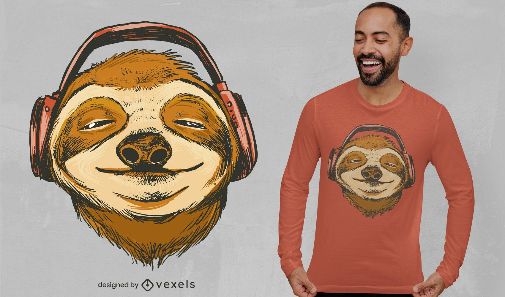 Animal-preguiça com design de t-shirt de auscultadores