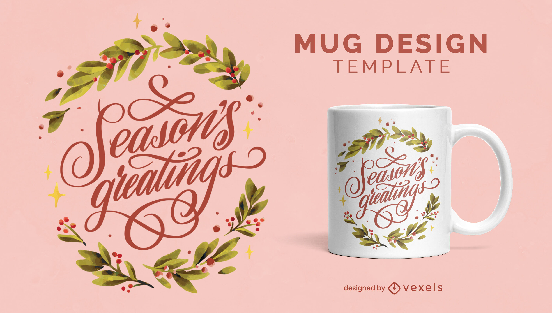 Christmas holiday lettering mug design