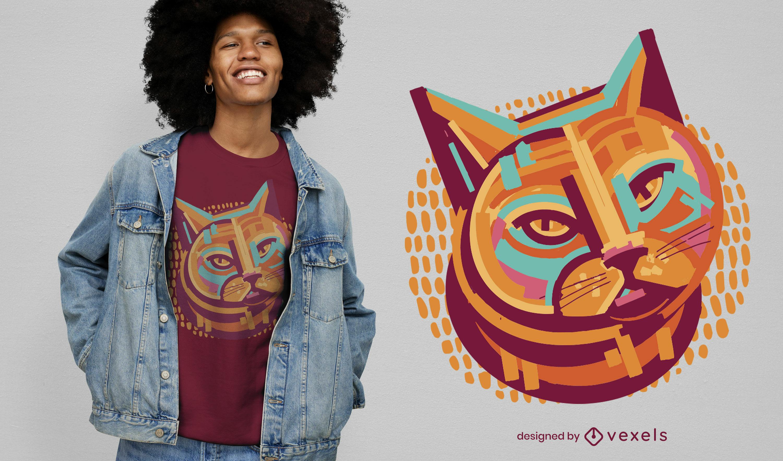 Diseño de camiseta de retrato de animal de gato colorido