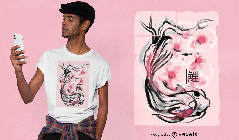 Desenho de t-shirt de flores de sakura com peixes Koi