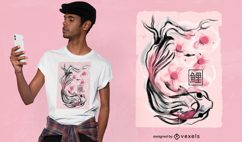 Koi fish animal sakura flowers t-shirt design
