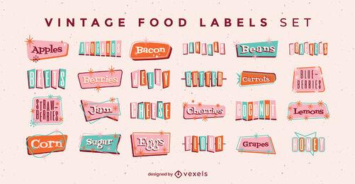 Food ingredients labels vintage set