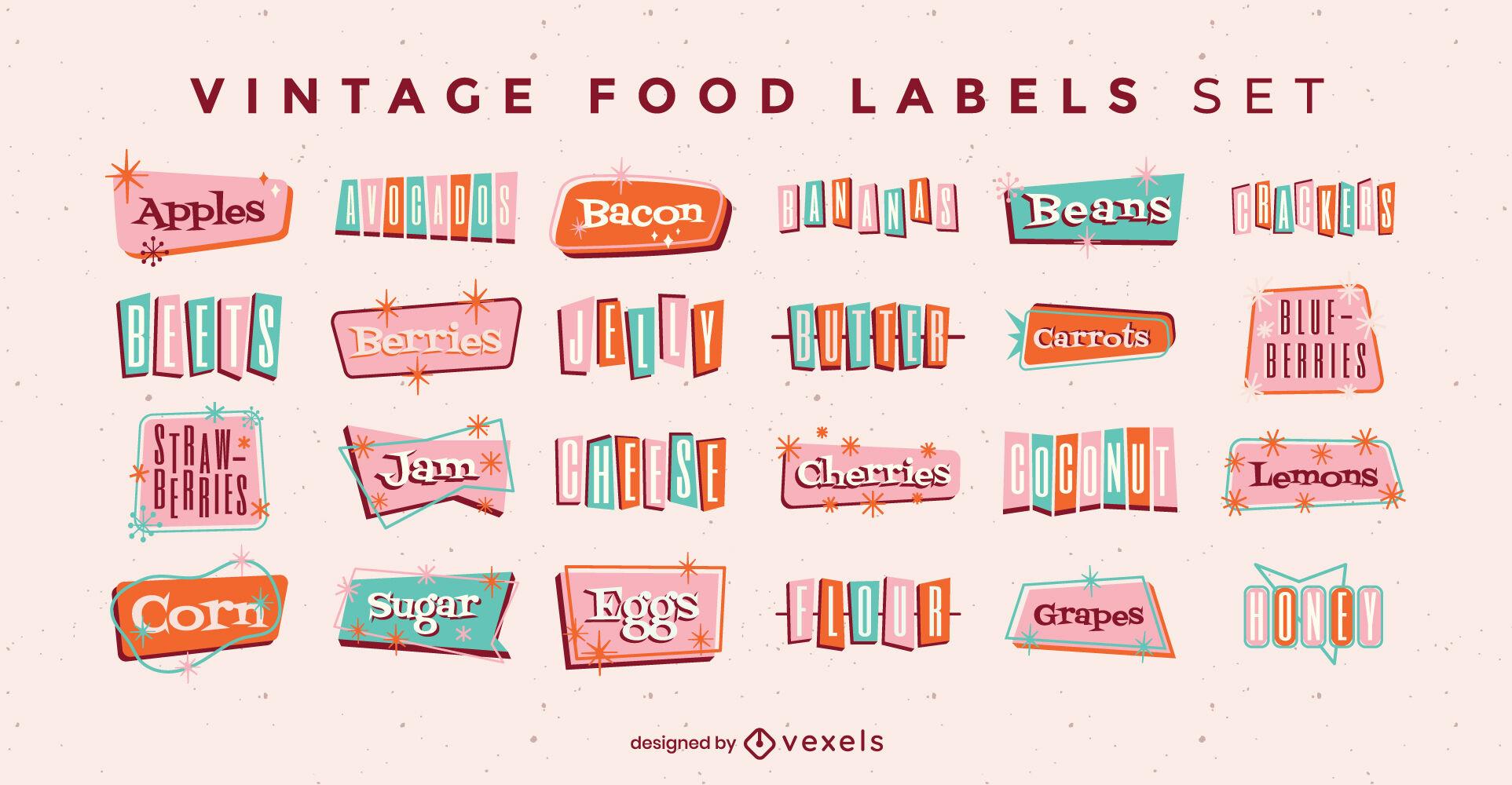 Conjunto vintage de rótulos de ingredientes de alimentos
