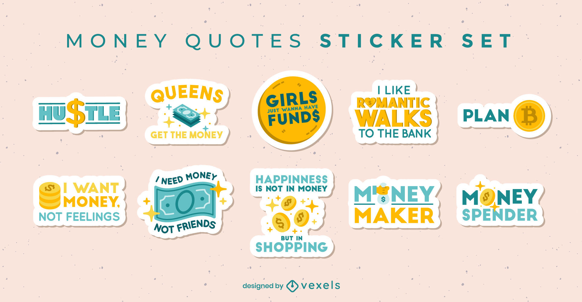 Money quotes sticker elements set