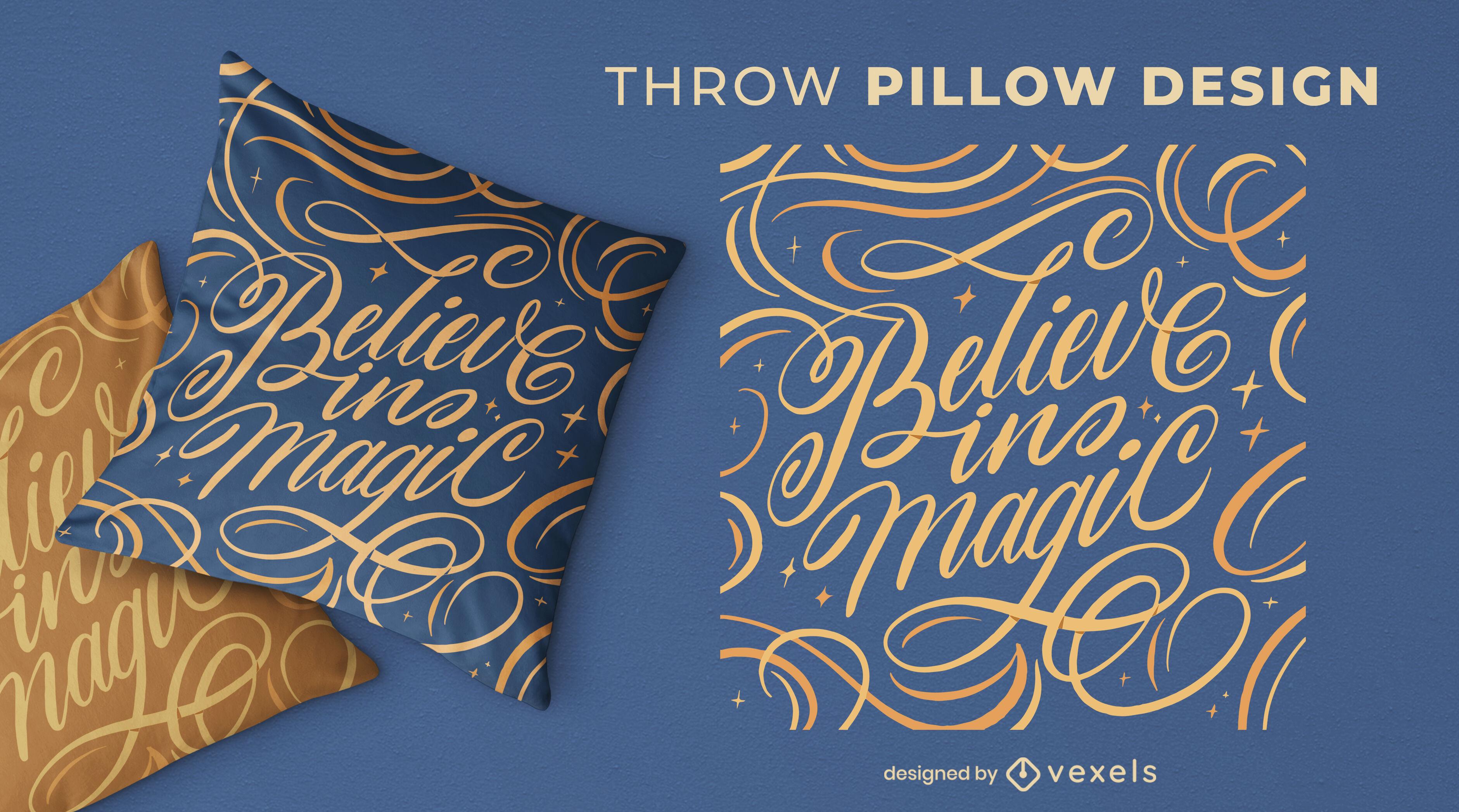Design de almofada com letras motivacionais