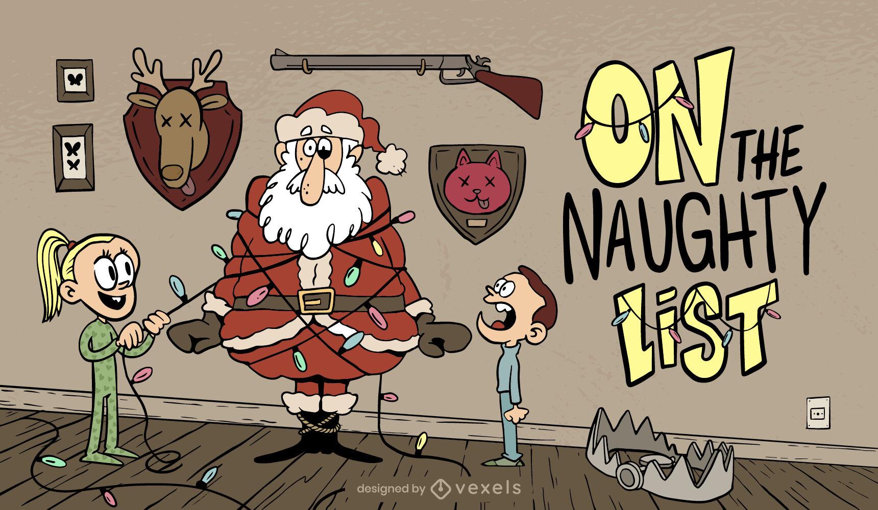 Ilustração engraçada de natal crianças travessas