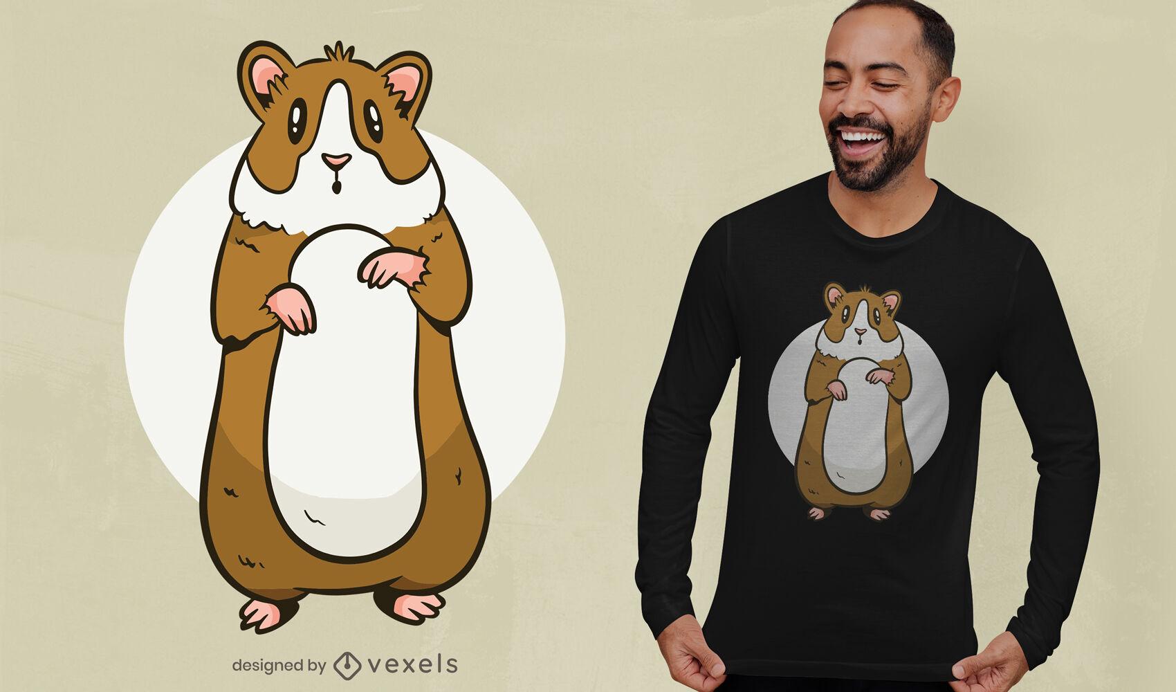 Design fofo de t-shirt de hamster em pé