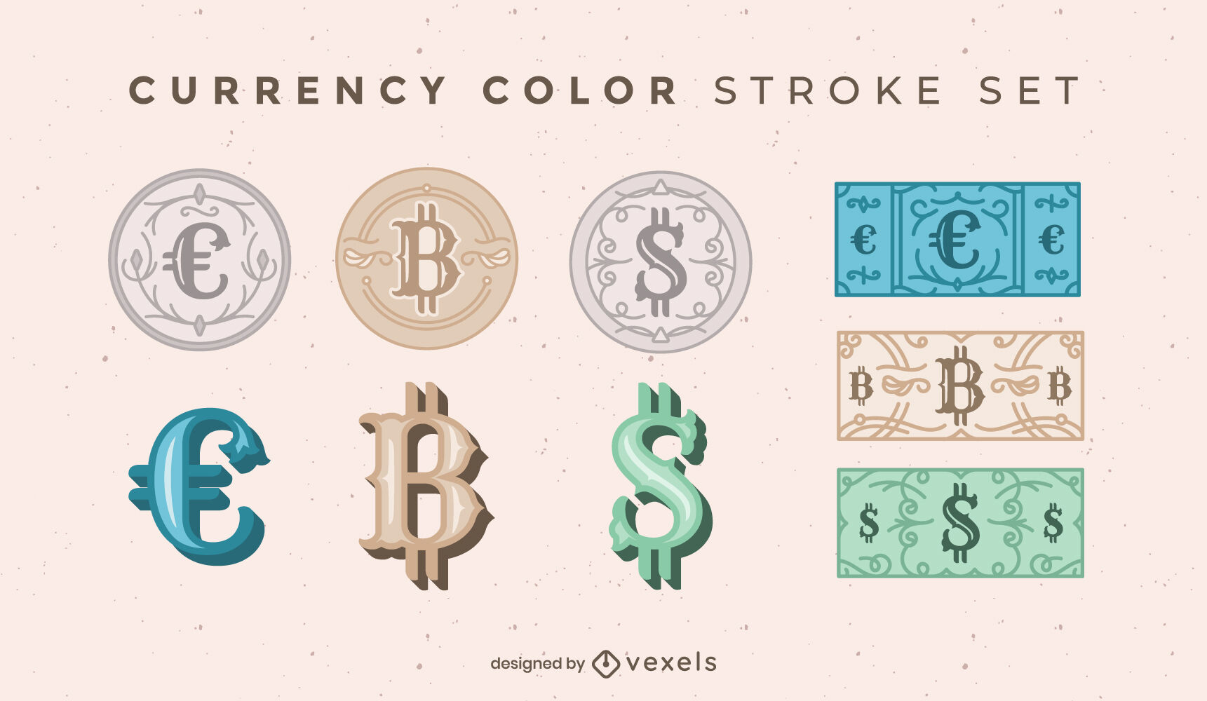Conjunto de símbolos de moneda monedas y billetes