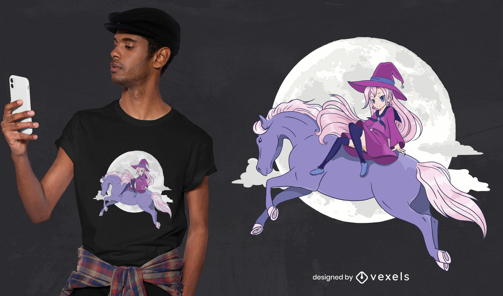 Diseño de camiseta de anime bruja caballo