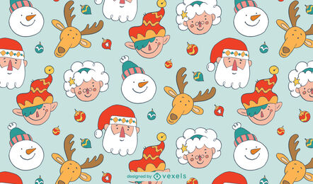 Diseño de patrón navideño familiar de santa claus