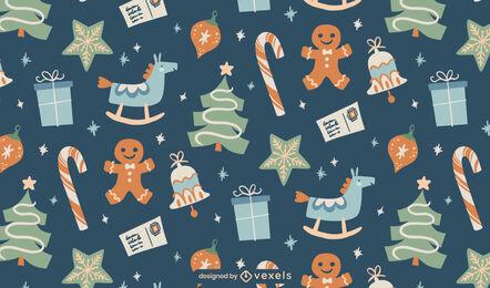 Diseño de patrón plano de regalos navideños