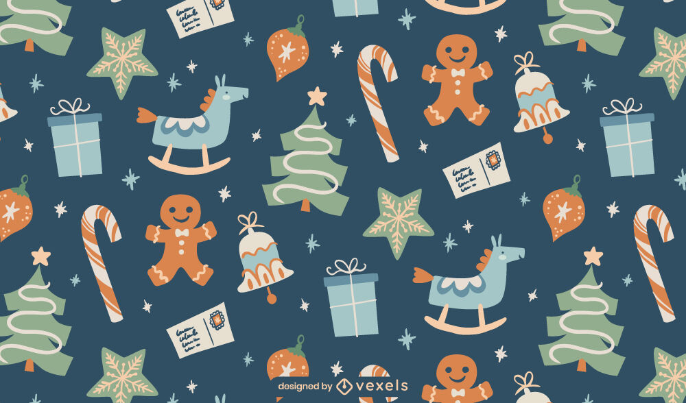 Christmas holiday gifts flat pattern design