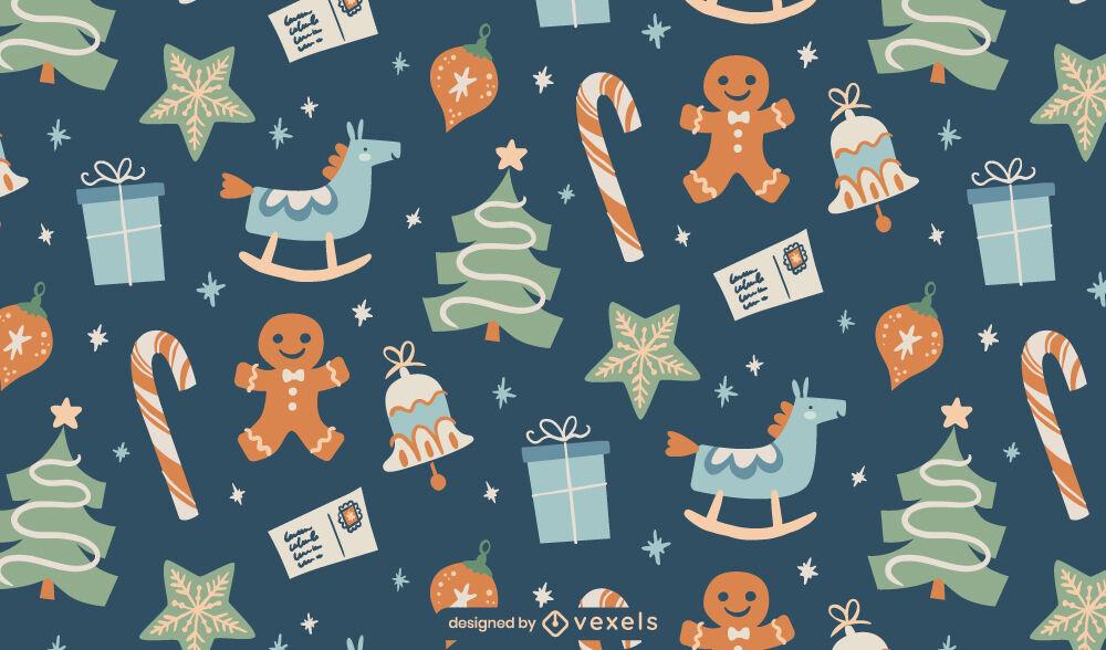 Weihnachtsferiengeschenke flaches Musterdesign