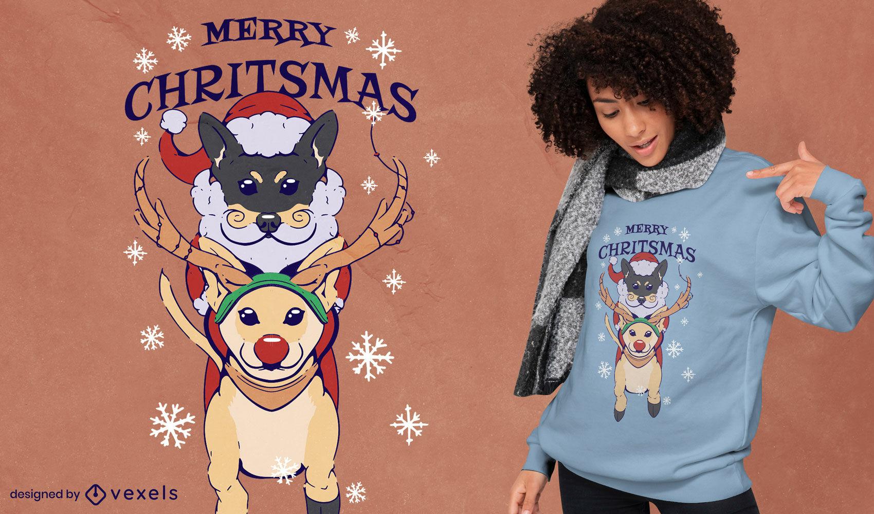 Lindo diseño de camiseta de perros navideños.