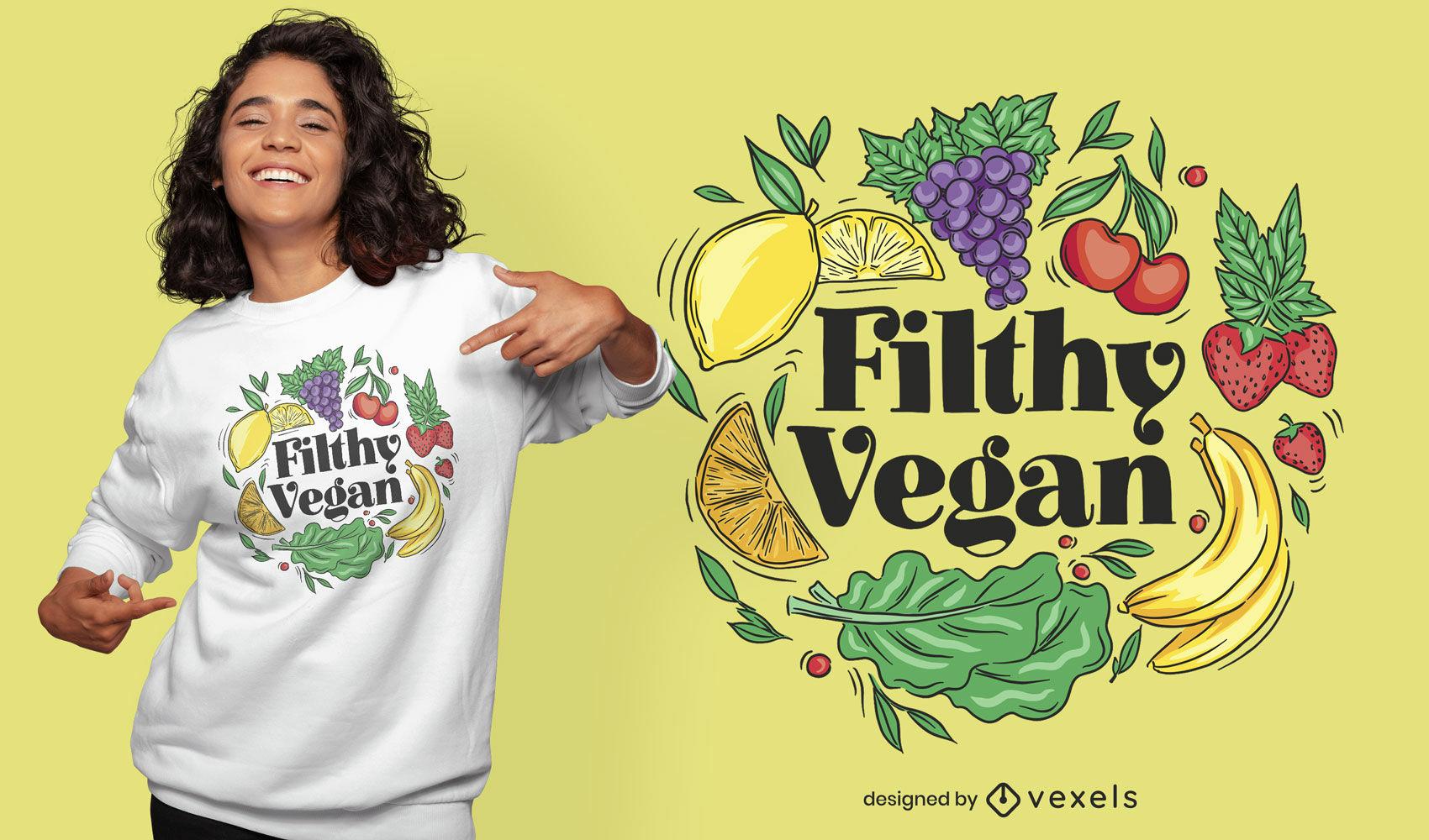 Divertido y sucio diseño de camiseta vegana.