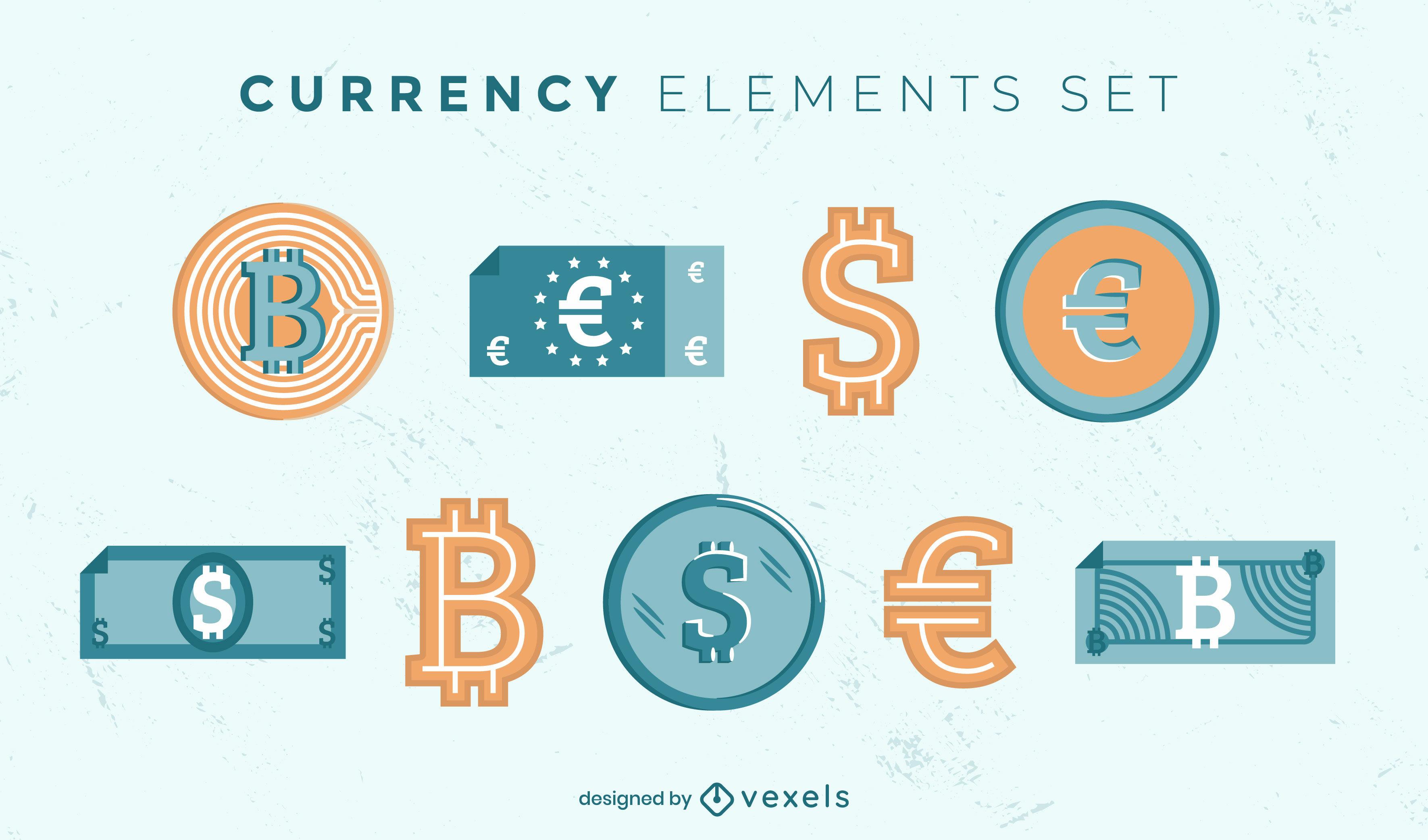 Colección plana de símbolos de moneda