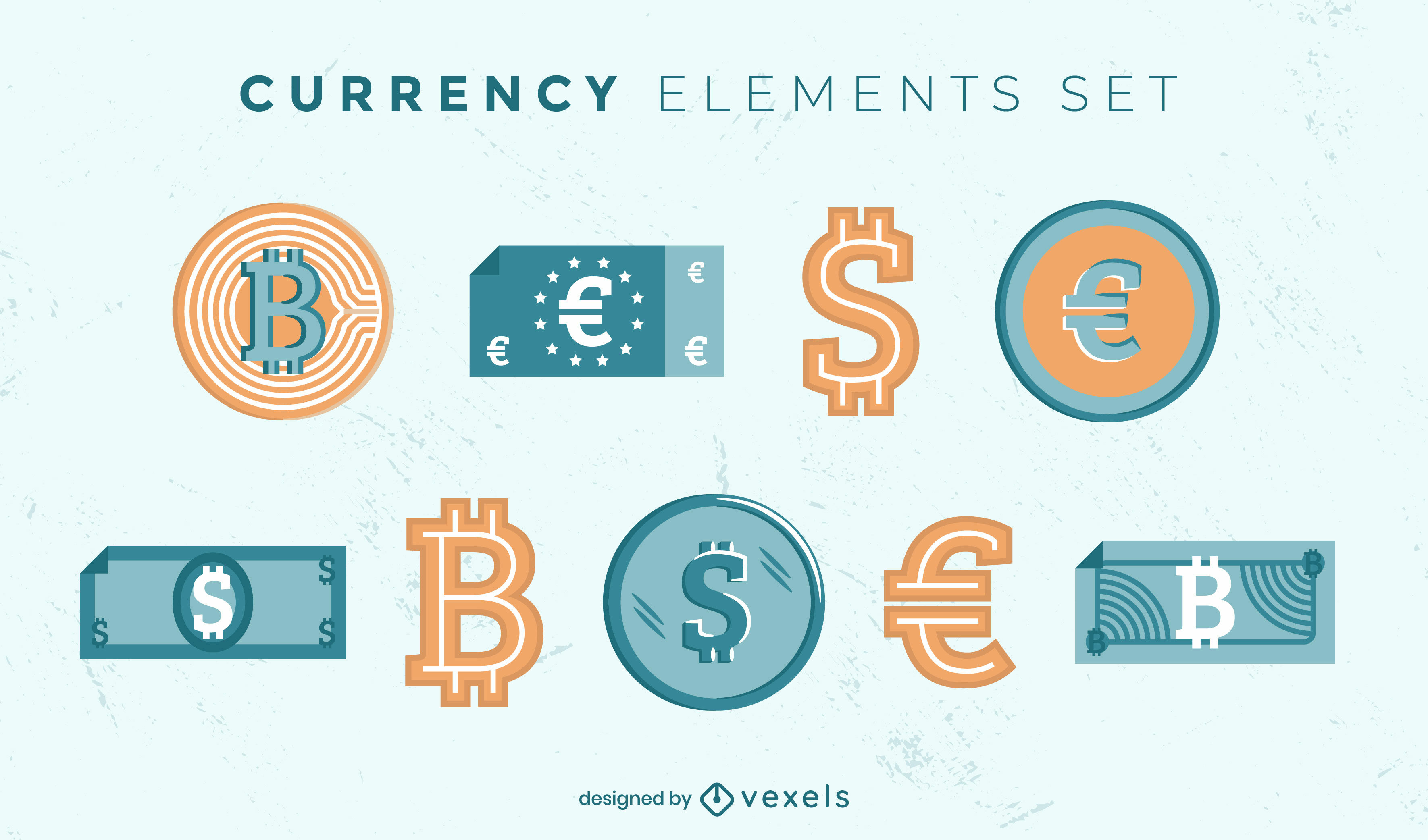 Currency symbols flat collection