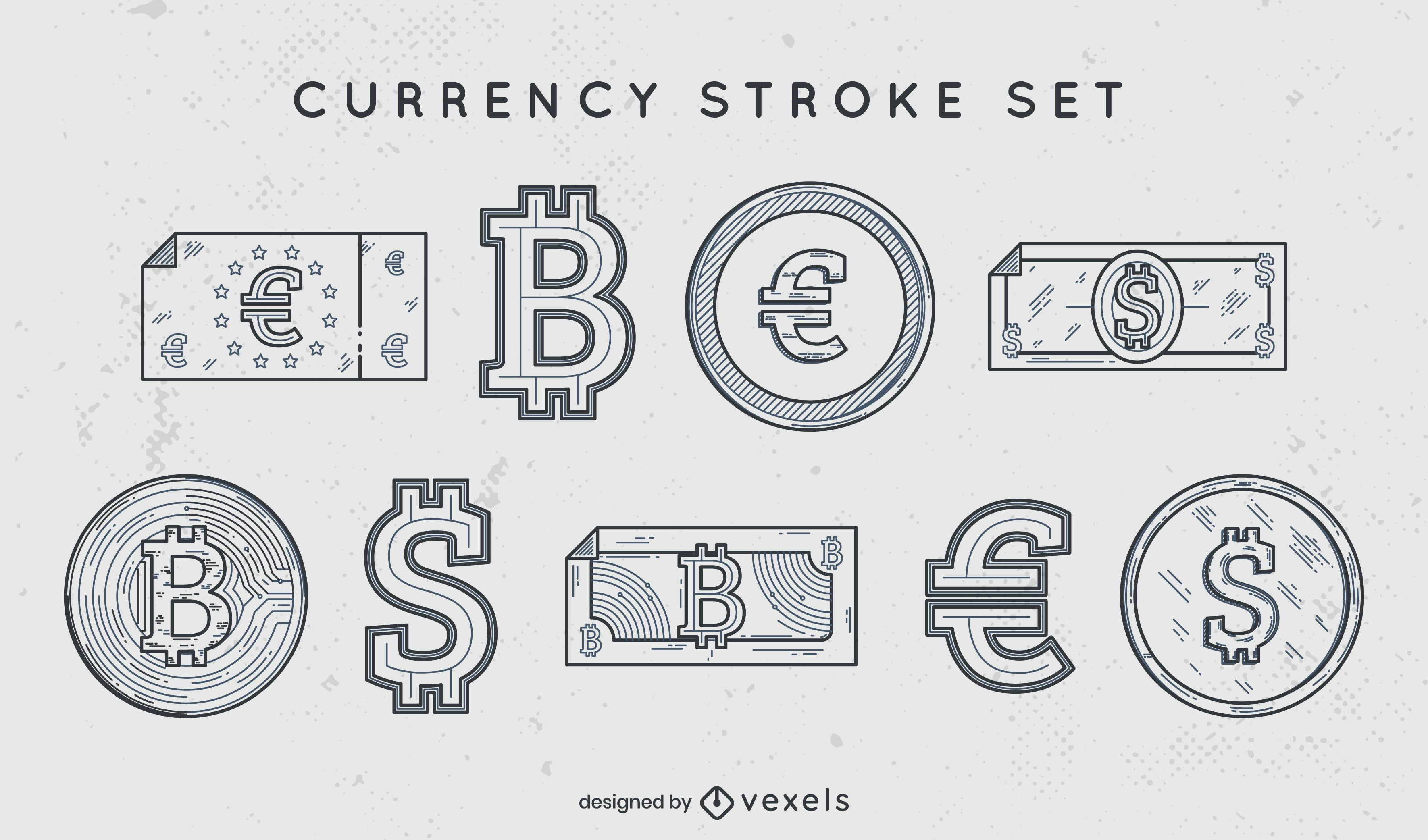 Colección de trazos de símbolos de moneda