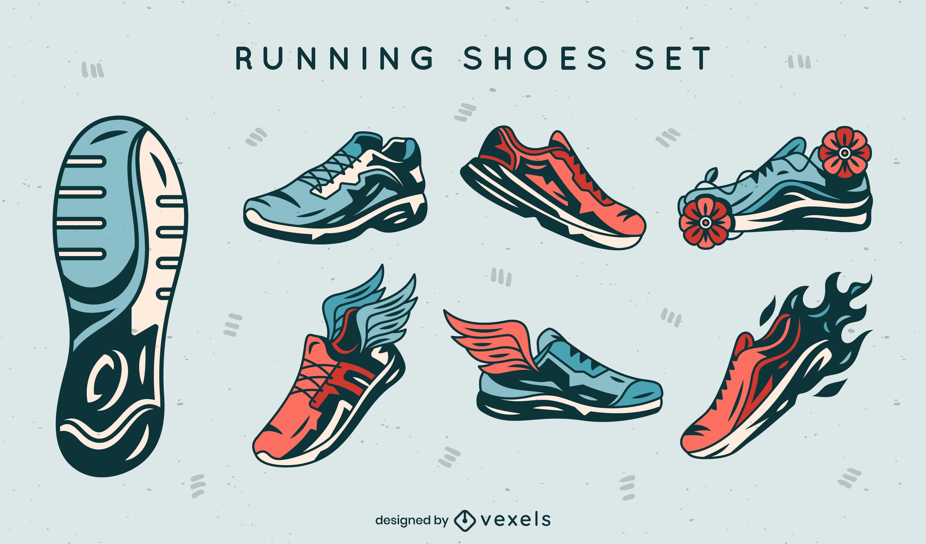 Colección de trazos de color de zapatillas para correr