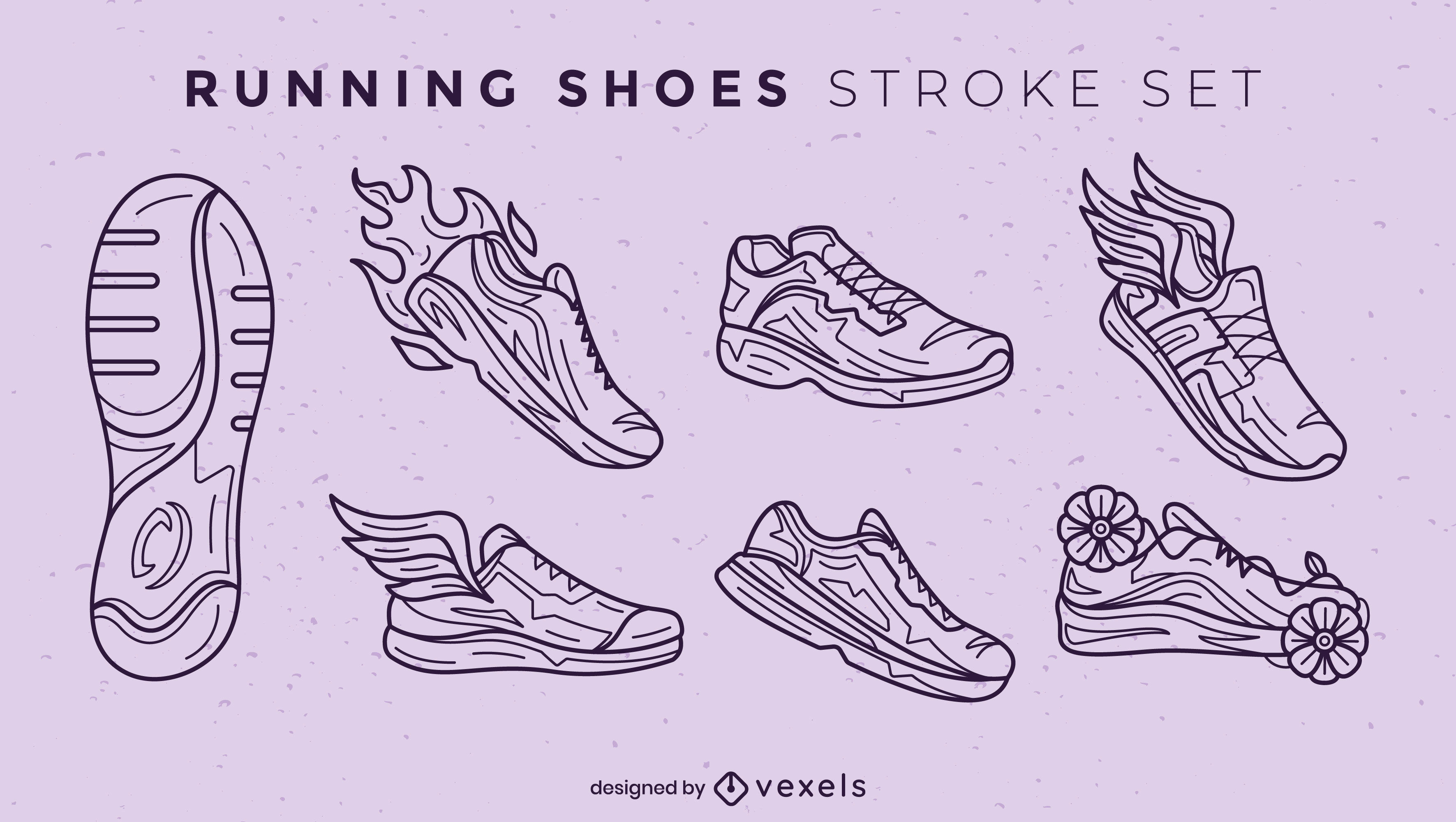 Trazo de elementos de zapatos para correr
