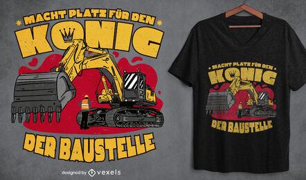 Diseño de camiseta de rey de la construcción.