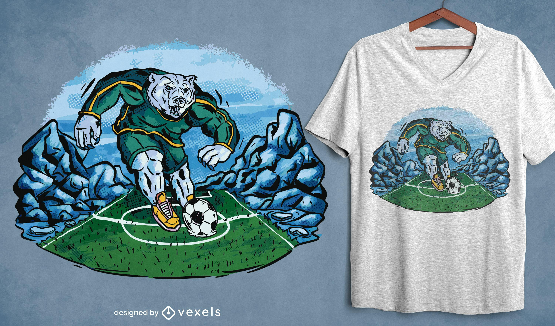 Design de camiseta do urso polar de futebol