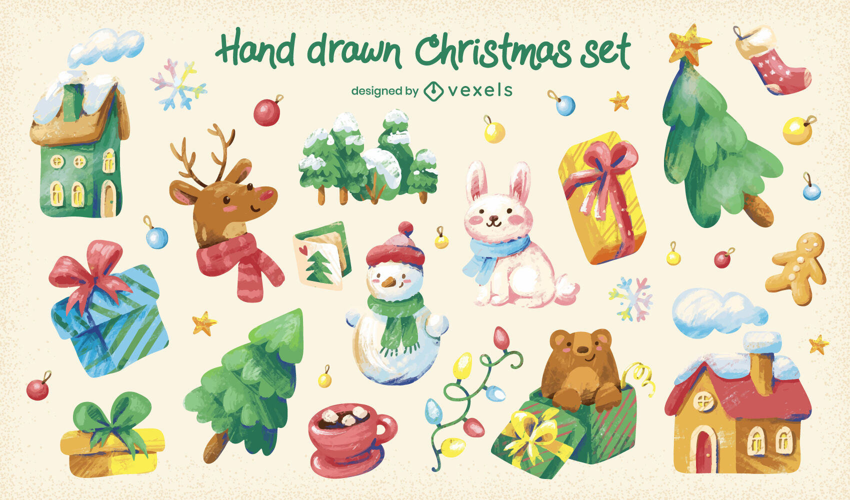 Childrens christmas holiday elements set