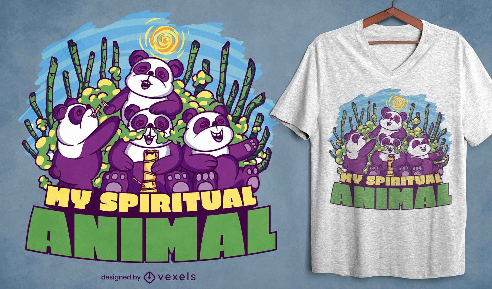Divertido diseño de camiseta de pandas stoner