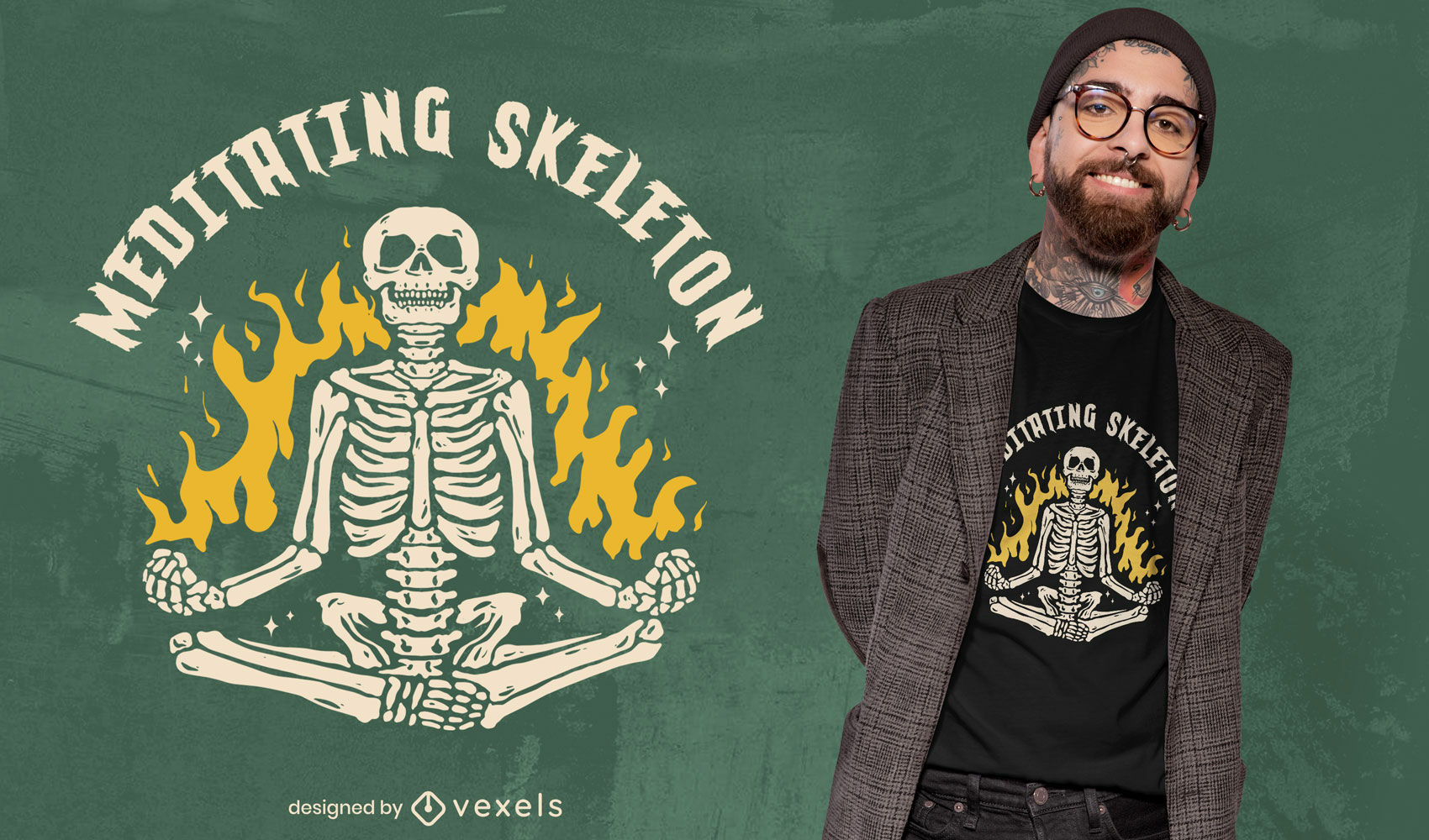 Cooles meditierendes Skelett-T-Shirt-Design