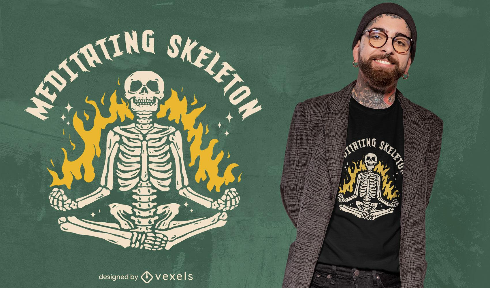 Genial diseño de camiseta de esqueleto meditando