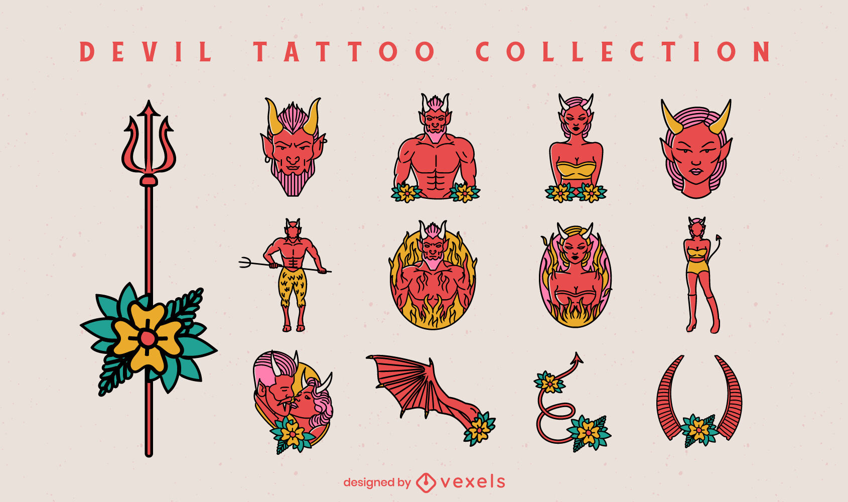 Conjunto de personagens de tatuagem de demônio