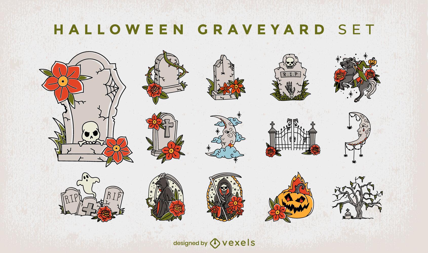 Conjunto de feriado assustador do Dia das Bruxas do cemitério