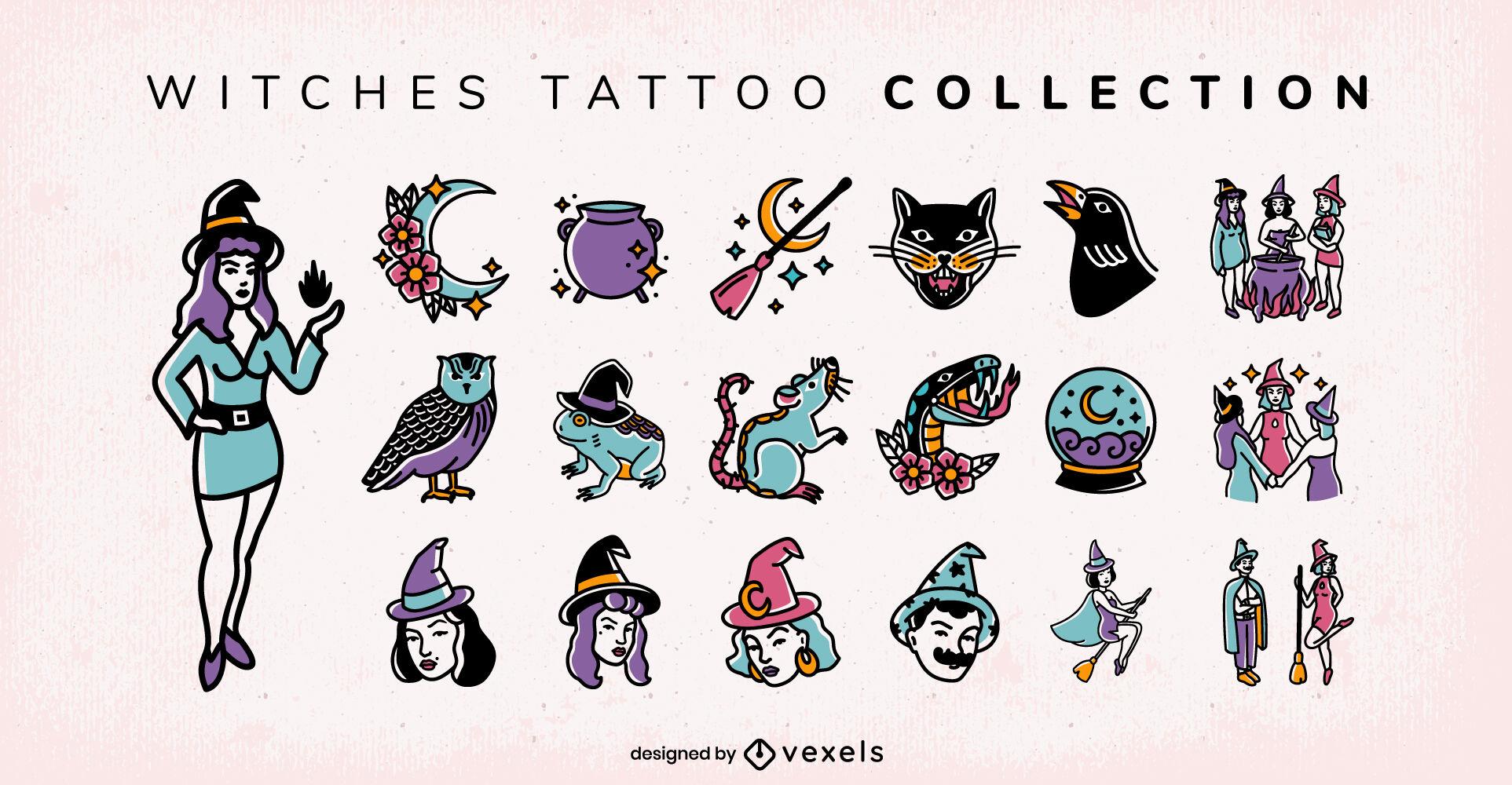 Conjunto de tatuajes de bruja magia oscura fantasía