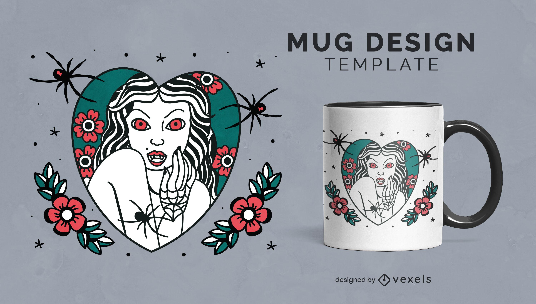 Plantilla de taza de halloween de mujer vampiro
