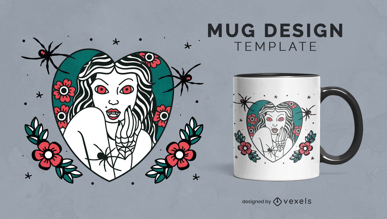 Vampire woman halloween mug template