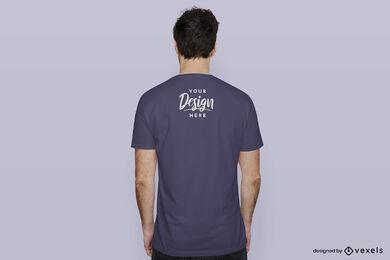 Blue t-shirt man mockup backwards flat background