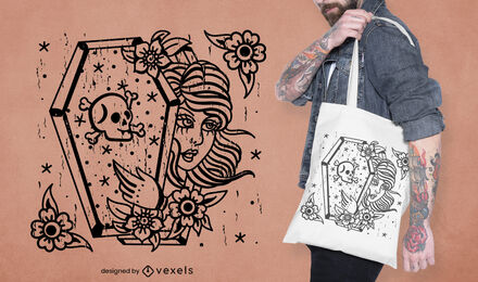 Vampire woman in coffin tote bag design