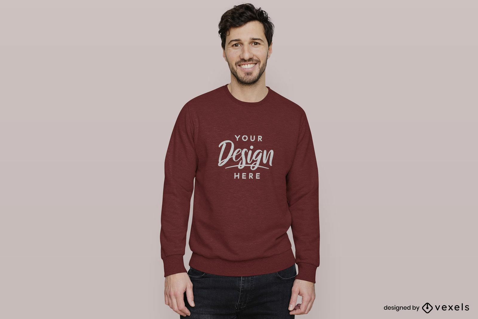 Kastanienbraunes Sweatshirt-Mannmodell im flachen Hintergrund