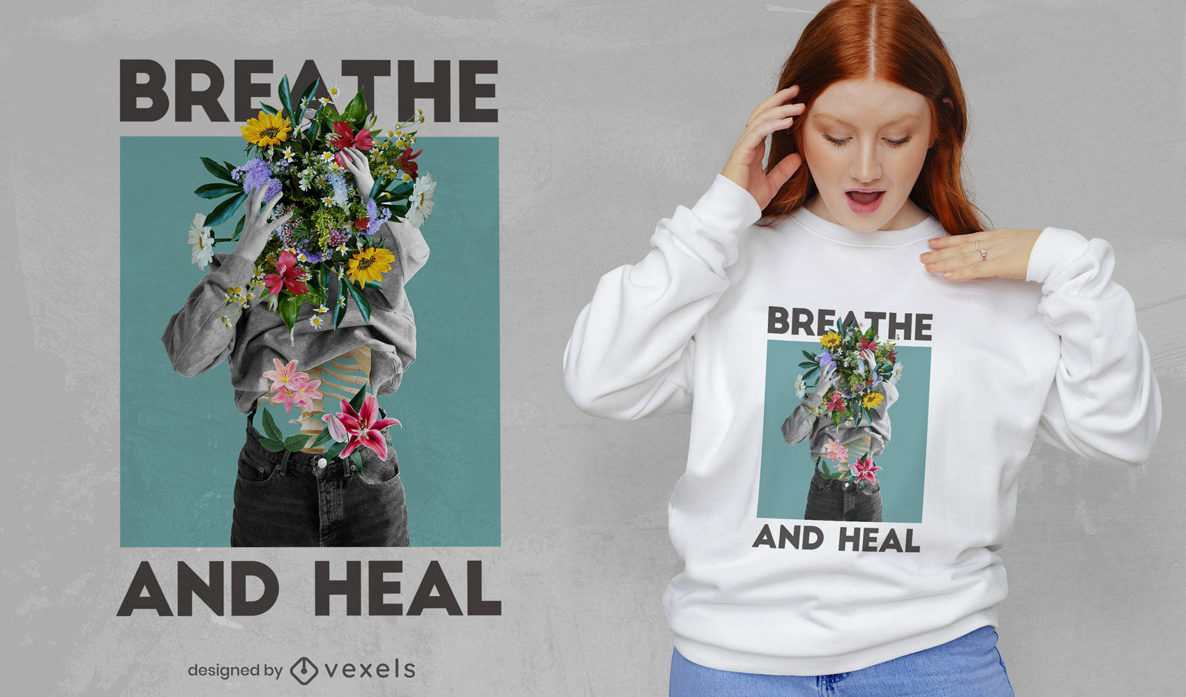 Breathe and heal woman floral psd t-shirt design