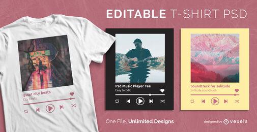 Modelo de camiseta psd escalonável para player de música
