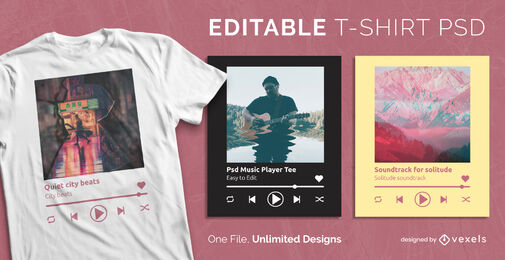 Music player scalable psd t-shirt template