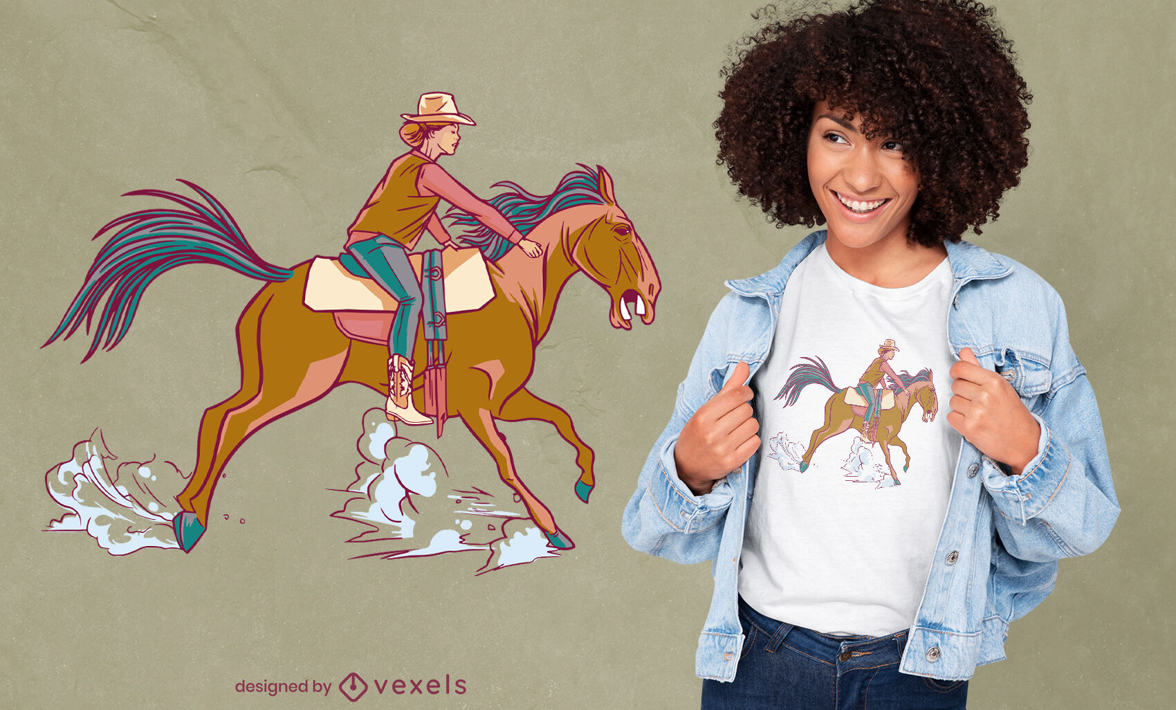 Diseño de camiseta vaquera montando caballo.